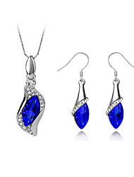 cheap -Women's Drop Earrings Pendant Necklace 3D Precious Unique Design Fashion Silver Plated Earrings Jewelry Blue For Party Daily Work 1 set