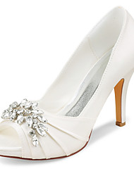 cheap -Women's Wedding Shoes Stiletto Heel Peep Toe Rhinestone Satin Spring &  Fall / Summer Ivory