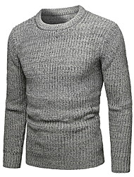 cheap -Men's Solid Colored Long Sleeve Pullover Sweater Jumper, Round Neck Wine / Navy Blue / Gray L / XL / XXL
