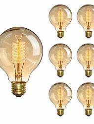 cheap -6pcs 40 W E26 / E27 G80 Warm Yellow 2200 k Incandescent Vintage Edison Light Bulb 220-240 V