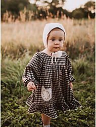 cheap -Baby Girls' Active Black & White Check Lace Trims Long Sleeve Dress Black