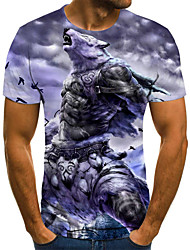 baratos -Homens Camiseta 3D / Arco-Íris Roxo