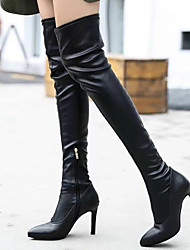 cheap -Women's Boots Stiletto Heel Pointed Toe Synthetics Thigh-high Boots Sweet / British Winter / Fall & Winter Black / Party & Evening