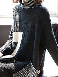 cheap -Women's Sweater Dress - Color Block Black M L XL XXL