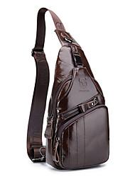 cheap -Men's Zipper Cowhide Sling Shoulder Bag Animal Black / Yellow / Coffee