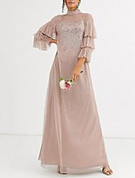 cheap -A-Line Elegant Formal Evening Dress High Neck 3/4 Length Sleeve Floor Length Chiffon with Pleats Sequin 2020