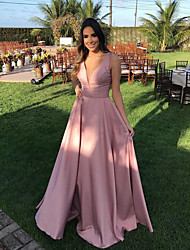 cheap -A-Line Plunging Neck Court Train Satin Cute / Elegant Prom Dress 2020 with Beading / Sash / Ribbon