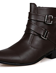 cheap -Men's Boots Cowboy Boots Chelsea Boots Work Boots Casual Daily PU Height-increasing Booties / Ankle Boots White Black Brown Winter