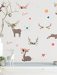 cheap -Merry Christmas Watercolor PVC Wall Sticker Elk and Antlers Self-Adhesive Waterproof Wallpaper for Children's Room