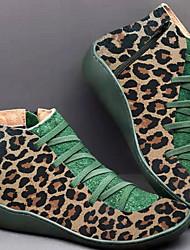 cheap -Women's Boots Flat Heel Peep Toe PU Booties / Ankle Boots Fall & Winter Leopard / Green / Red
