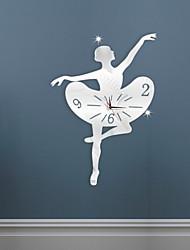 cheap -DIY Mirror Ballet Dance Girl Wall Stickers 3D Acrylic Wall Clock Home Decoration Mute Wall Clock