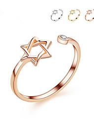 Недорогие -3 цвет оригинальный Давид звезда кольцо золотого цвета кольца для женщин простой горный хрусталь гексаграмма открытое кольцо для девушки подарок ювелирных изделий ну вечеринку