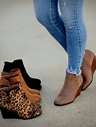 cheap -Women's Boots Wedge Heel Pointed Toe Suede Booties / Ankle Boots Vintage / Casual Spring &  Fall / Spring Black / Brown / Leopard / Party & Evening