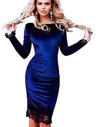 cheap -Women's Velvet Elegant Slim Sheath Dress - Solid Colored Lace Black Blue Red S M L XL