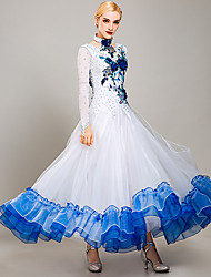 cheap -Ballroom Dance Dresses Women's Training / Performance Organza / Ice Silk Embroidery / Appliques / Crystals / Rhinestones Long Sleeve Dress