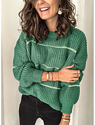 cheap -Women's Striped Long Sleeve Pullover Sweater Jumper, Round Neck Black / Green S / M / L