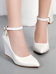 cheap -Women's Heels Wedge Heel Round Toe PU Fall & Winter Black / White / Pink