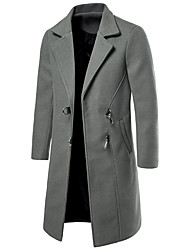 abordables -Homme Quotidien Basique Automne hiver Normal Pardessus, Couleur Pleine Col Droit Manches Longues Polyester Noir / Vin / Gris