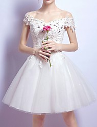 cheap -A-Line Cute Holiday Cocktail Party Dress Off Shoulder Short Sleeve Short / Mini Chiffon Lace with Bow(s) Crystals Sequin 2020