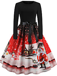 cheap -Women's Santa Claus Snowman A Line Dress - Long Sleeve Snowflake Bow Pleated Patchwork Basic Vintage Christmas Party Festival Blue Purple Red S M L XL XXL / Print