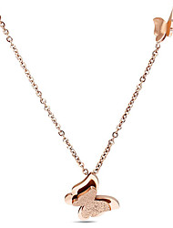 cheap -Women's Pendant Necklace Necklace Classic Butterfly Classic Trendy Fashion Cute Titanium Steel Rose Gold Gold Silver 42 cm Necklace Jewelry 1pc For Gift Daily School Holiday Festival