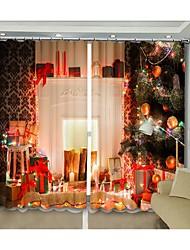 cheap -New Christmas Curtain Digital Printing For White Fireplace 3D Curtain Festival High Precision Black Silk Fabric High Quality Blackout Curtain