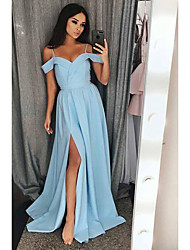 cheap -A-Line Spaghetti Strap Sweep / Brush Train Satin Furcal / Elegant Prom Dress with Split Front 2020