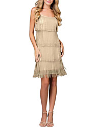 cheap -Sheath / Column Spaghetti Strap Short / Mini Polyester Open Back Cocktail Party / Holiday Dress with Tassel 2020