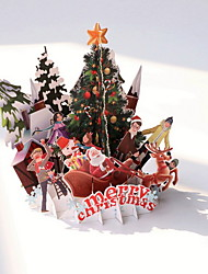 cheap -1 pc Christmas 3D Pop Up Card For Christmas Gift