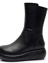 cheap -Women's Boots Wedge Heel Round Toe Nappa Leather Mid-Calf Boots Classic / Vintage Winter / Fall & Winter Black / White