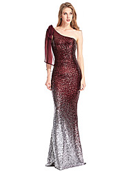 cheap -Mermaid / Trumpet One Shoulder Sweep / Brush Train Polyester Elegant Formal Evening Dress with Sequin 2020