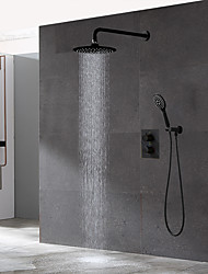 cheap -Bathroom Concealed Black Thermostatic Shower Set 10 inch Rainfall Overhead and Hand-held Shower Room Faucet Kit