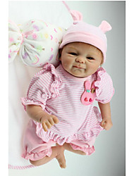 cheap -NPKCOLLECTION NPK DOLL Reborn Doll Girl Doll Baby Girl 18 inch Silicone - Newborn Gift Hand Made Child Safe Non Toxic Birthday Kid's Girls' Toy Gift / Artificial Implantation Brown Eyes
