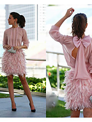 cheap -Sheath / Column Jewel Neck Short / Mini Chiffon Cute Cocktail Party / Holiday Dress with Bow(s) / Draping / Feathers / Fur 2020