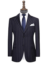 cheap -Navy blue pinstripe wool custom suit