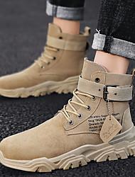 cheap -Men's Suede Shoes Suede Winter Boots Booties / Ankle Boots Black / Beige / Khaki / Combat Boots