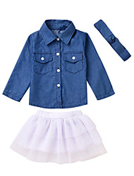 cheap -Baby Girls' Active White / Blue Solid Colored Long Sleeve Long Clothing Set Blue