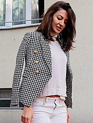 cheap -Women's Blazer, Solid Colored Notch Lapel Polyester Black / White / Fuchsia