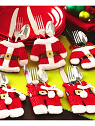 cheap -Christmas Table Decorations Knife And Fork Bag Christmas Cutlery Set Small Clothes Weihnachten Dekoration Gifts