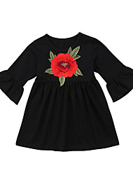 cheap -Baby Girls' Active Rose Solid Colored Embroidered Long Sleeve Dress Black