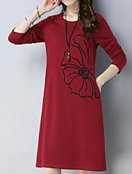 cheap -Women's A Line Dress Knee Length Dress Wine Green Long Sleeve Solid Colored Round Neck Basic M L XL XXL 3XL 4XL 5XL