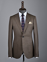 cheap -Brown plain wool custom suit