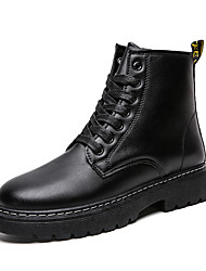 cheap -Men's Combat Boots PU Fall & Winter Casual Boots Walking Shoes Non-slipping Black