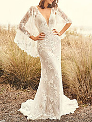 cheap -Sheath / Column V Neck Sweep / Brush Train Lace 3/4 Length Sleeve Made-To-Measure Wedding Dresses with Lace 2020