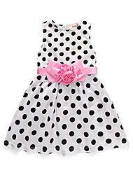 cheap -Kids Toddler Girls' Basic Cute Polka Dot Sleeveless Knee-length Dress Black
