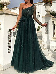 cheap -A-Line Sparkle Green Prom Formal Evening Dress One Shoulder Sleeveless Sweep / Brush Train Tulle with Sequin 2020
