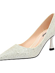 cheap -Women's Wedding Shoes Stiletto Heel Pointed Toe Rhinestone / Sequin / Sparkling Glitter Synthetics Minimalism Spring & Summer Black / White / Champagne / Party & Evening