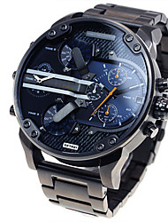 cheap -Men's Military Watch Wrist Watch Steel Band Watches Oversized Luxury Calendar / date / day Analog Black Blue Grey / Dual Time Zones