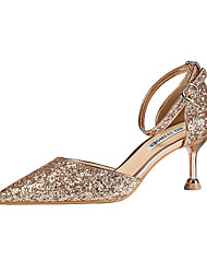 cheap -Women's Wedding Shoes Stiletto Heel Pointed Toe Sequin Synthetics Sweet / Minimalism Fall / Spring & Summer Black / Light Yellow / Champagne / Party & Evening