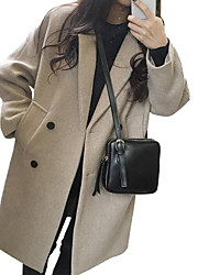 cheap -Women's Daily / Work Active / Basic Winter Long Coat, Solid Colored Black & White Shirt Collar Long Sleeve Wool / Cotton Patchwork Black / Beige